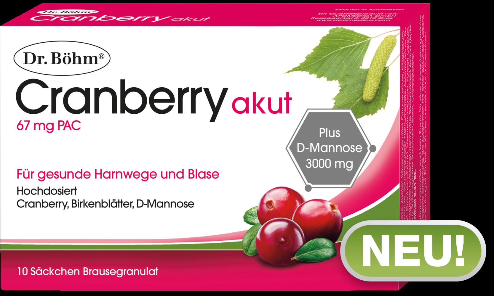 Dr. Böhm® Cranberry akut - gesunde Harnwege und Blase im Akutfall ...