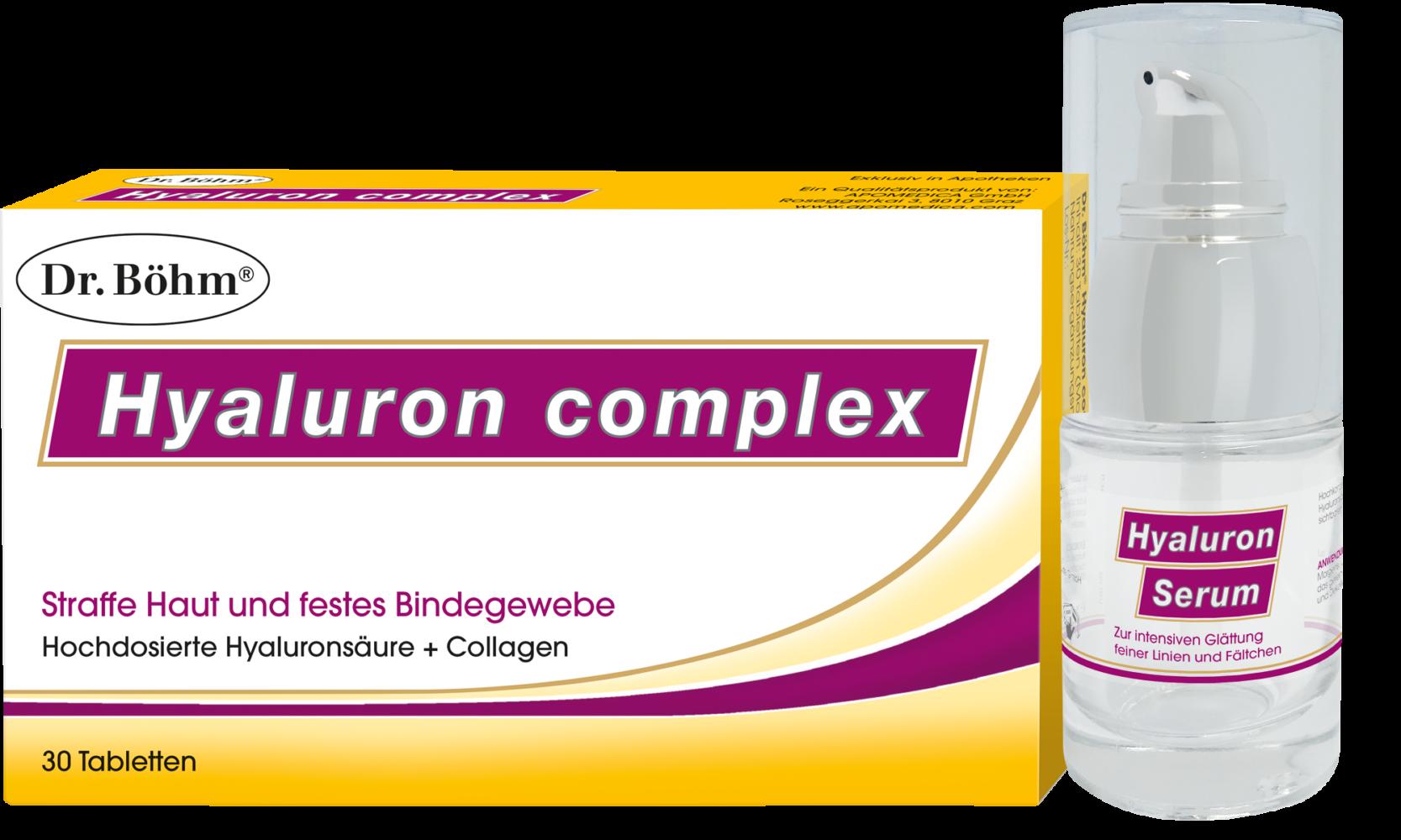 Dr. Böhm® Hyaluron complex Tabletten + Hyaluron Serum, Anti Aging von innen und außen für straffe Haut und festes Bindegewebe