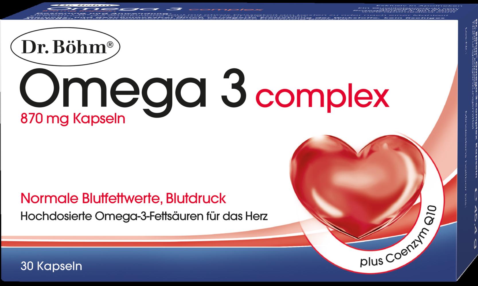 Dr. Böhm® Omega 3 complex Kapseln, hochdosierte Omega-3-Fettsäuren plus Coenzym Q10