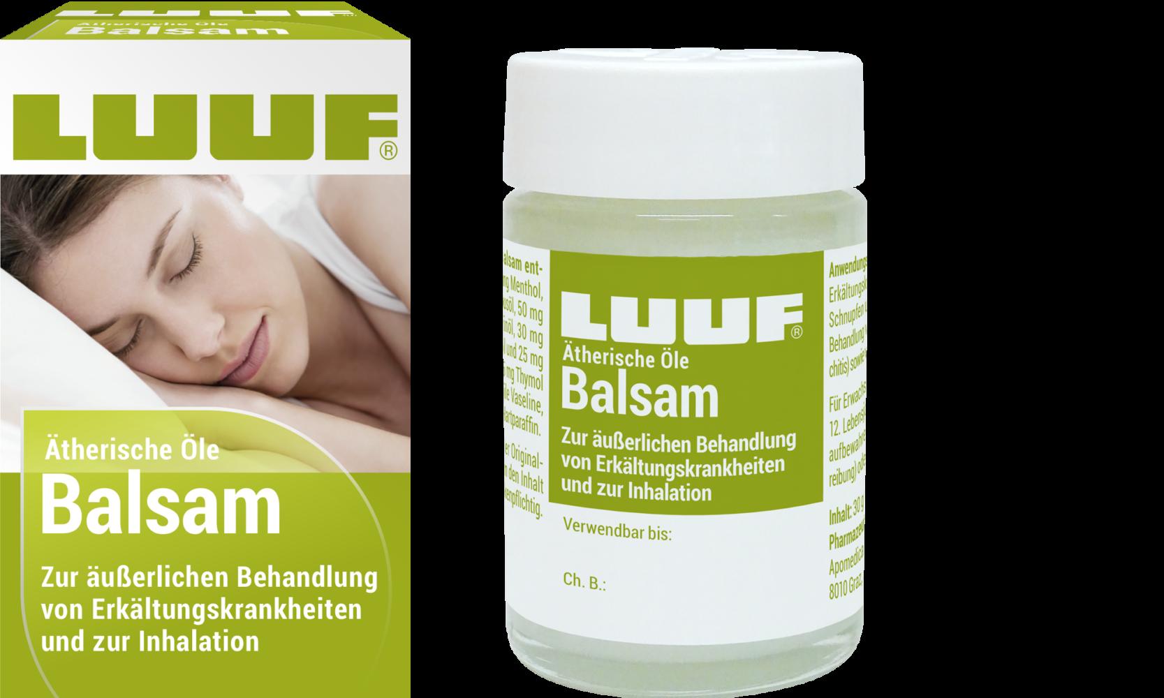 Abbildung LUUF® ätherische Öle Balsam zur äußerlichen Behandlung von Erkältungskrankheiten und zur Inhalation; Arzneimittel