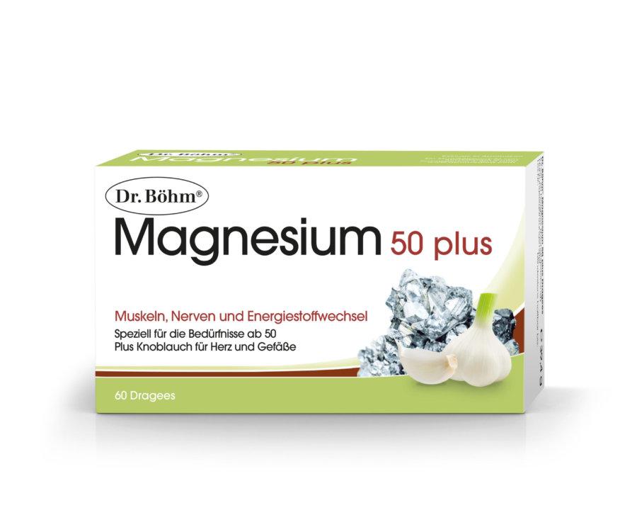 Dr. Böhm® Magnesium 50 plus, Muskeln, Nerven und Energiestoffwechsel Plus Knoblauch für Herz und Gefäße