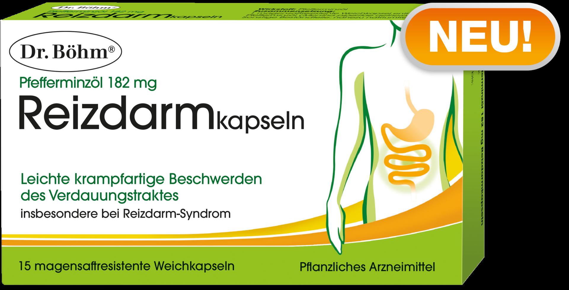 NEU! Dr. Böhm® Reizdarmkapseln, Pfefferminzöl 182 mg, Pflanzliches Arzneimittel