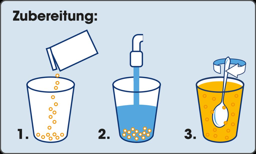 Zubereitung Dr. Böhm® Gelenks complex intensiv Brausegranulat mit frischem Mangogeschmack