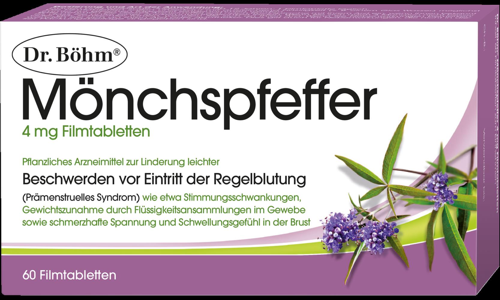 Dr. Böhm® Mönchspfeffer, pflanzliches Arzneimittel zur Linderung leichter Beschwerden vor Eintritt der Regelblutung