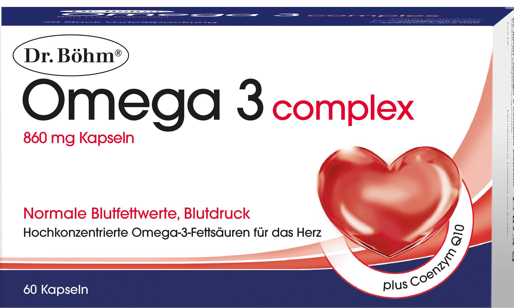 Dr. Böhm® Omega 3 complex 60 Kapseln - hochkonzentrierte Omega-3-Fettsäuren für das Herz
